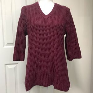 Lands End Small Tall Open Knit V-Neck Sweater EUC
